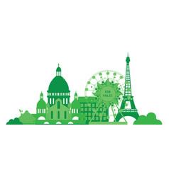 green city silhouette in flat design eco paris vector image vector image