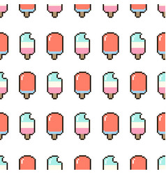 ice cream summer pattern seamless in pixel style vector image