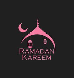 ramadan kareem mosque and a crescent lantern vector image