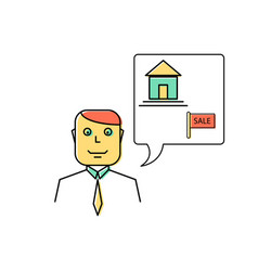Real estate agent manager line icon vector