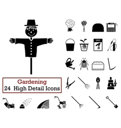 Set of 24 Gardening Icons vector image
