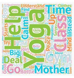 Yoga for mothers text background wordcloud concept vector image