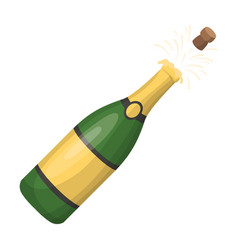 a bottle of champagne with a corkparty and vector image