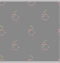 gray piggy bank seamless pattern vector image