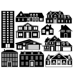 House silhouettes set vector