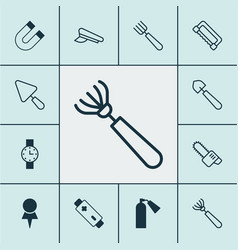 Instrument icons set collection of putty garden vector