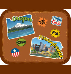oregon pennsylvania travel stickers vector image vector image