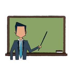 school blackboard with teacher vector image