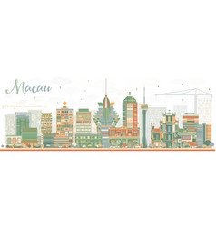 Abstract macau skyline with color buildings vector