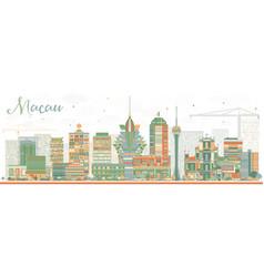 Abstract macau skyline with color buildings vector