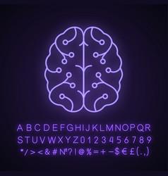 Ai neon light icon vector