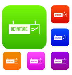 Airport departure sign set collection vector