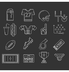 American football outline icons vector