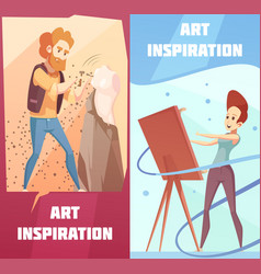art inspiration cartoon banners set vector image vector image
