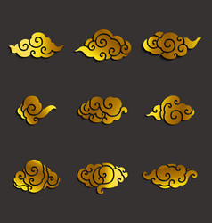 asian clouds icon set vector image