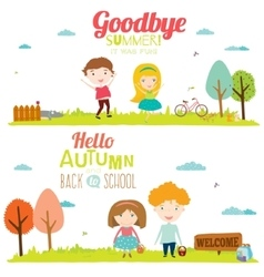 Autumn banners with funny happy smiling kids vector