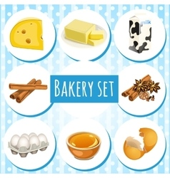 Bakery set butter eggs and other ingredients vector