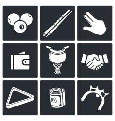 Billiard icon collection vector