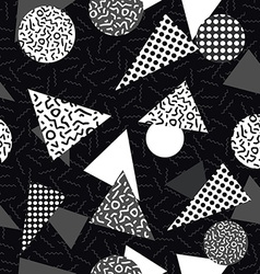 black and white retro pattern with geometric shape vector image