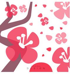 blooming sakura card with traditional asian vector image