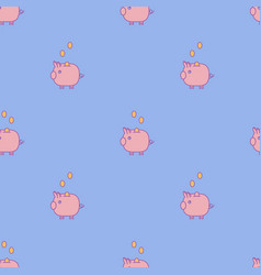 blue piggy bank seamless pattern vector image