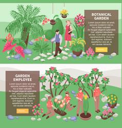 botanical garden horizontal banners vector image