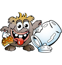 cartoon a happy troll eating cookie vector image
