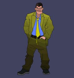 cartoon untidy large man in a green suit with a vector image