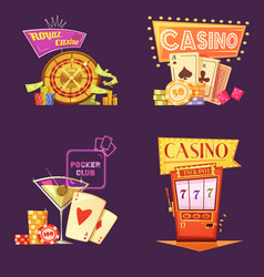 Casino retro cartoon 2x2 icons set vector