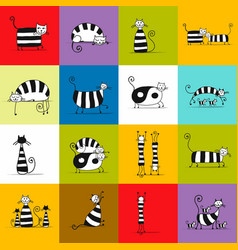 cats striped collection sketch for your design vector image
