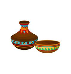 ceramic vase and bowl authentic symbol of africa vector image
