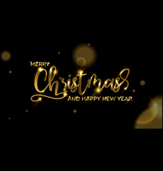 christmas and new year gold typography card vector image