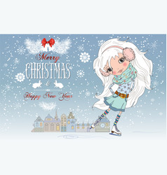 Christmas card with girl vector image