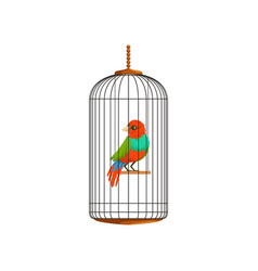 Creative of little parrot in metal vector