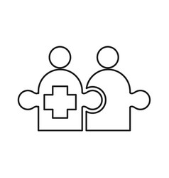 Cross puzzle commitment teamwork together outline vector