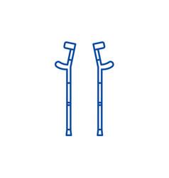 crutches line icon concept crutches flat vector image