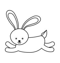 Cute line icon rabbit cartoon vector