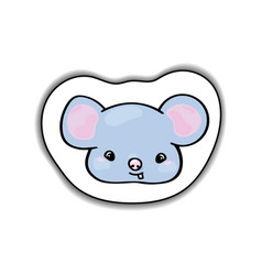 cute mouse animal face sticker vector image