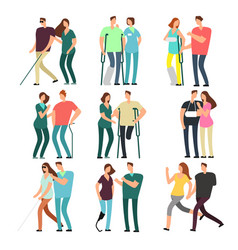 Disabled people with caring friends handicapped vector