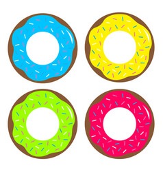 Donut chocolate glaze icon sweet bakery pastry vector