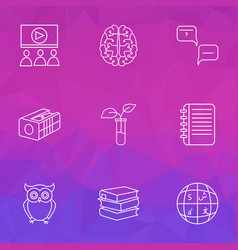 Education icons line style set with neurobiology vector