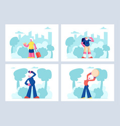 elderly people open air workout and traveling set vector image