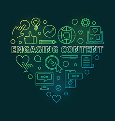 Engaging content heart colored linear vector