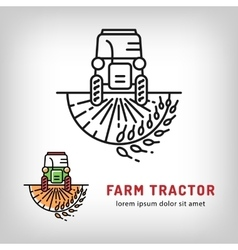 Farm tractor icon art line style Farmers market vector