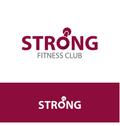 fitness club strong logo concept vector image
