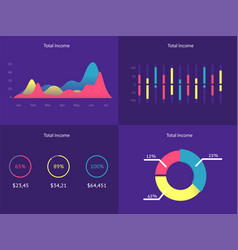 Flat dashboard set of ui web infographic elements vector