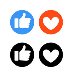 flat hand and heart signs reaction in social vector image