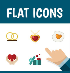 flat icon amour set of ring gift necklace and vector image