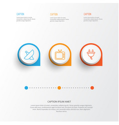 Gadget icons set collection of socket television vector