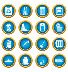 garbage thing icons blue circle set vector image